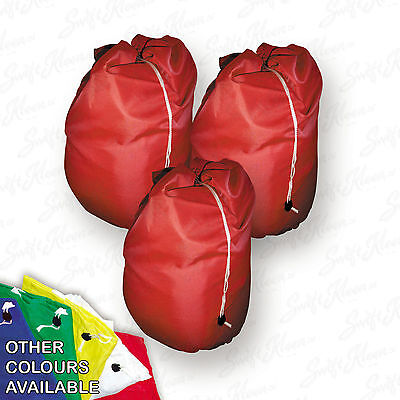 3 X Large Heavy Duty Laundry Bag Sack with Drawstring Commercial Style Red