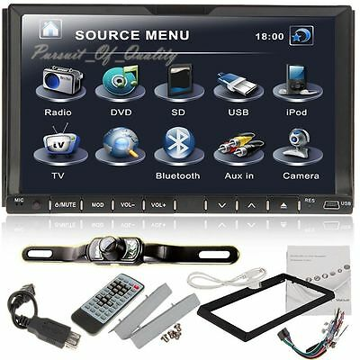 Autoradio DVD 2 DIN Receiver Bluetooth Stereo Radio SD TV USB Autoradio + Camera