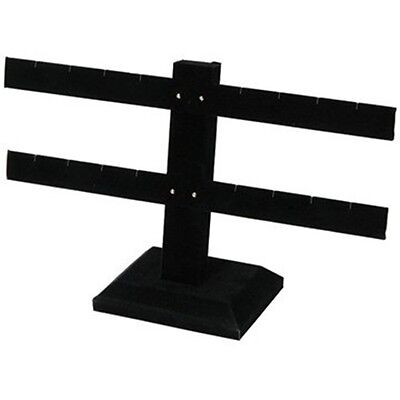 "2 Tier Double Bar Black Earring Display Stand 10 1/4""W  x 6 1/2""H"