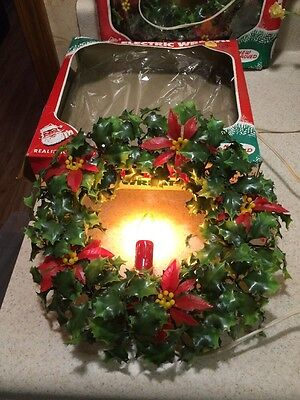 Vintage ACLA Electric Wreath Candle Light - Realistic Vinyl Foliage & Poinsettia