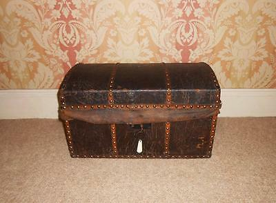 Early 19th Century Studded Leather Travelling Trunk / Chest