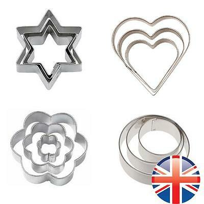 *UK Seller* 3 Pcs Cookie Cutter Set Star Flower Heart Stainless Steel Mould