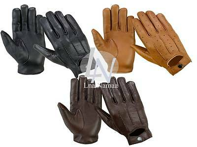 Brand New - Real Leather High Quality Mens Driving Soft Gloves - Black Brown Tan