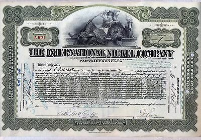International Nickel Company of Canada Stock Certificate Older