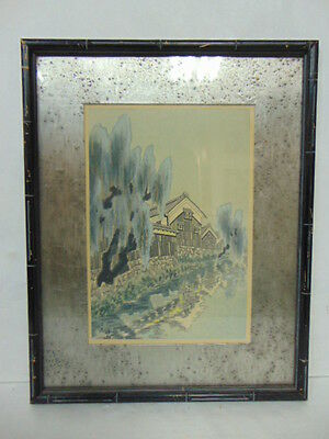 Vintage Antique Art Deco Japanese Wood Block Print W/ Frame