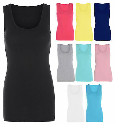 Womens Neon Ribbed Vest Top Ladies Strappy Stretch Sleeveless Casual Tops 8-32