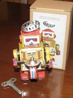 Robot Band Cymbals Gold  Wind Up Tin Toy Brand New