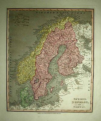 1811 Darton-Cary-Wilkinson SCANDINAVIA Fine Detail, Road Networks, Handsome Map!