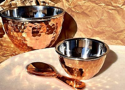 Copper Bowl/Dish and Copper Spoon 3 Piece Set Entertaining/Serving/Display