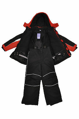 Water/WindProof Kids Children Boys Ski/Snow Suit Jacket/Pants Red/Black  SZ 2-10