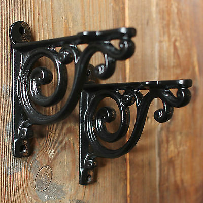 "2 x BLACK 4"" SMALL ANTIQUE VINTAGE CAST IRON VICTORIAN SHELF BRACKETS (BR01bx2)"