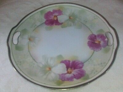 "10"" Erdmann Schlegelmilch Suhl Prussia / Germany Hand Painted Floral Gold Gilt"