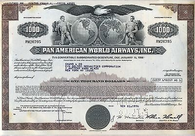 Pan American World Airways Bond Stock Certificate Airline
