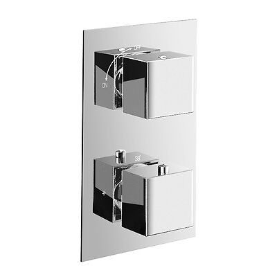 Thermostatic Shower Mixer Valve - Square 2 Dial 2 Way Out, chrome