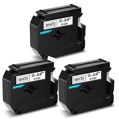 """3PK Compatible for Brother P-touch Label M-K231 MK231 Black/White Tape 12mm 1/2"""""""