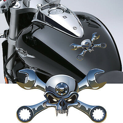 Motorbike Skulls and Crossed Spanner Decals (Motorcycle Stickers Graphics) #1