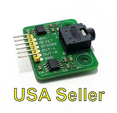 Stereo MSGEQ7 breakout board (7-band graphic equalizer) for Arduino, RPi, PIC