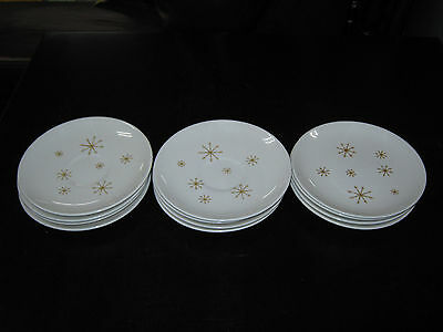 "Set of 6 Bread & Butter Plates 6.5"" Atomic Star Glow Royal China Ironstone VTG"
