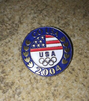 Athens Greece Olympic Pin 2004 Wreath USA Flag Rings Logo Team Sports