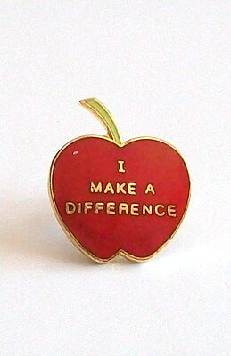 """Vintage """"I Make A Difference"""" Red Apple with Green Stem Leaf Metal Lapel Pin!"""