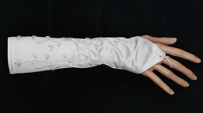 New Fingerless Satin with Beads and Sequins Wedding Gloves in White Ivory