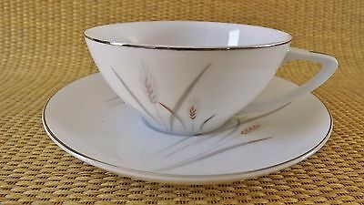 Fine China of Japan Platinum Wheat Dinner Cup And Saucer Set (9 Available)