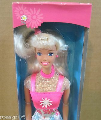 Flower Fun Barbie Doll With Bright Dress Blond Hair NEW! Box Light Wears.