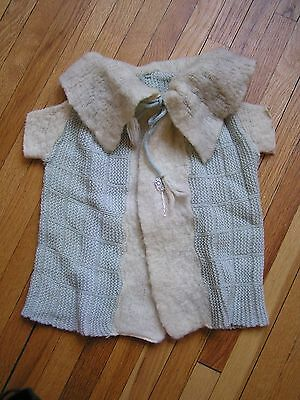 vintage BLUE BABY SWEATER jacket ANTIQUE ? ss BALLOON BUTTONS hand made WOW rare