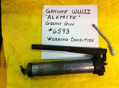 Wwii 6593 Alemite Grease Gun Genuine Us Army Ford Gpw Willys Jeep G503 Good Cond