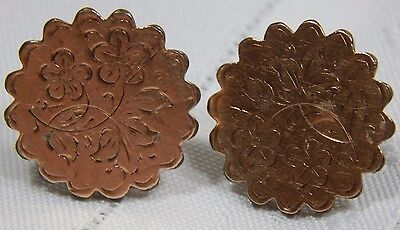Atq Victorian Gold Fil Dated 1880 Etched Floral Cuff Links