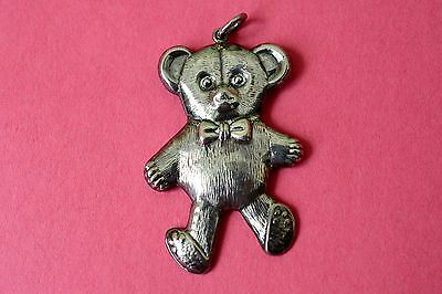Large Antique Sterling Silver Teddy Bear Pendant - Child C. 1920's - 30's