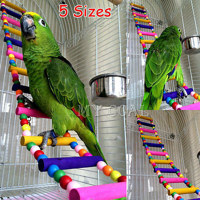 Pet Bird Wood Ladder Climb Parrot Macaw Cage Swing Shelf Parrot Bites Play Toy
