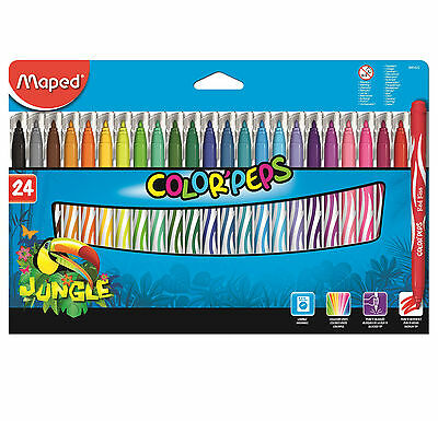 Helix Maped Colour Peps Jungle 24 Pack Markers Washable Felt Tips Stationery Pen