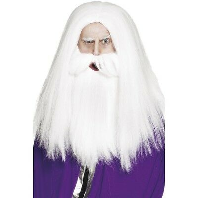 Mens Magician Set Wig & Beard Wizard Gandalf Dumbledore Merlin White Hair Film