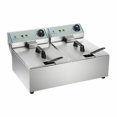 2 x 10 LITRE ELECTRIC FRYER SINGLE LARGE BASKET 2 x 3200 W STAINLESS STEEL 200°C