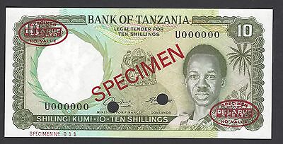 Tanzania 10 Shillings ND1966 P2as Specimen TDLR Uncirculated