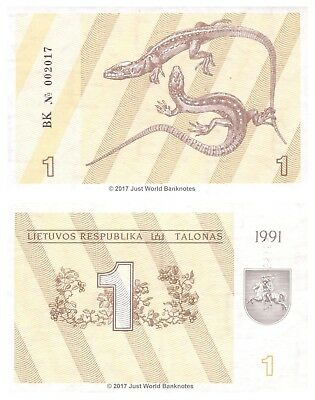 Lithuania 1 Talonas 1991 P-31a Mint UNC Uncirculated Banknotes