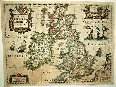 1631 Hondius Map BRITISH ISLES Flamboyantly Decorative, Mermaids! Ships! SCARCE