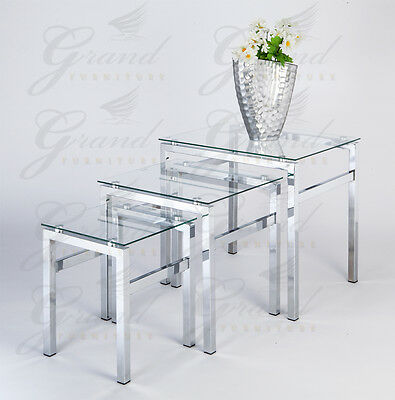 Elsa Range Clear Glass Nest of Tables Coffee Side Coffee Lamp End Table Sets
