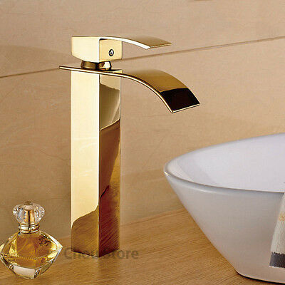 GOLD BRASS SINGLE Handle Bathroom Vessel Sink Faucet Waterfall Tall ...
