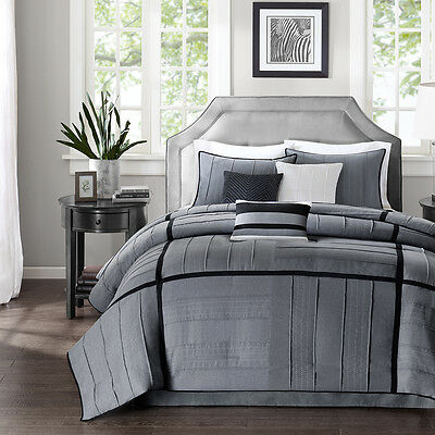 Beautiful Modern Contemporary Grey Black Stripe Textured Soft Comforter Set New