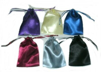 "12 Satin 3.75"" x 5.5"" Party Favor Gift  Drawstring Pouches 6 Colors Per Pack"