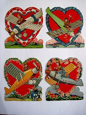 Vintage Antique Valentine Cards w/ Airplanes From the 1920's *
