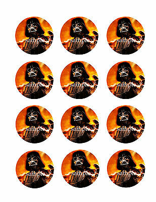 DARTH Vader Edible CUPCAKE Toppers Icing Image Circles 12 Star Wars