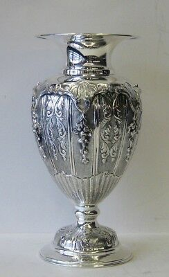 Fine 925 Sterling Silver Handcrafted Ornate Flower Vase Vss2-148