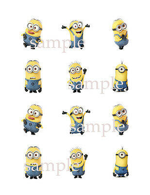 Assorted 12 MINIONS Edible CUPCAKE Toppers Icing Image Circles Despicable Me