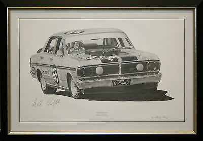 Allan Moffat signed Limited edition Pencil Sketch Framed Photo Proof