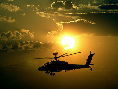 Apache Helicopter Poster Helicopter Poster Army Helicopter 18x24 (apache1)