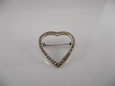 Vintage Estate Sterling Silver 925 Marcasite Accented Heart Brooch Pin