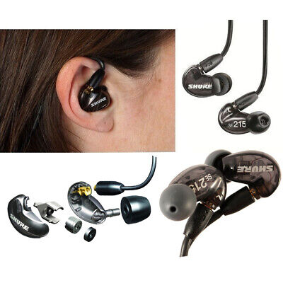 Genuine SHURE SE215 SOUND-ISOLATING IN-EAR Pro Stereo Earphones SE 215 Black